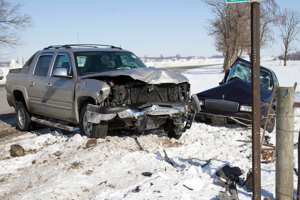 SAM HOUSEHOLDER | THE GOSHEN NEWS<br /> An early morning crash on Ind. 5 at the intersection of C.R. 200 S in LaGrange County south of Shipshewana Thursday. According to Deputy Edward Flowers, a Buick eastbound on C.R. 200 S falied to stop at the stop sign and was struck on the passenger side of the vehicle by a Chevrolet truck northbound on Ind. 5. A passenger in the Buick was airlifted from the scene and the driver was transported by ambulance to Parkview LaGrange Hospital.