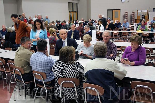 JOHN KLINE | THE GOSHEN NEWS<br /> Attendees of the Goshen Vibrant Communities community conversation get settled in before the start of the brainstorming event at Goshen High School Wednesday evening.