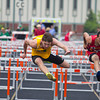 SAM HOUSEHOLDER | THE GOSHEN NEWS<br /> Northridge juniopr Austin Healey runs the 110 meter hurdles during the NLC Championship meet Tuesday at Warsaw High School.