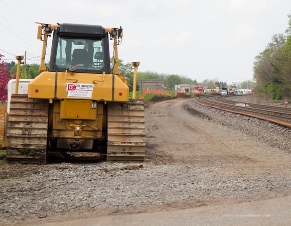 SAM HOUSEHOLDER | THE GOSHEN NEWS<br /> Construction continues on a new railroad track along Chicago Avenue and Beaver Lane in Goshen Monday.
