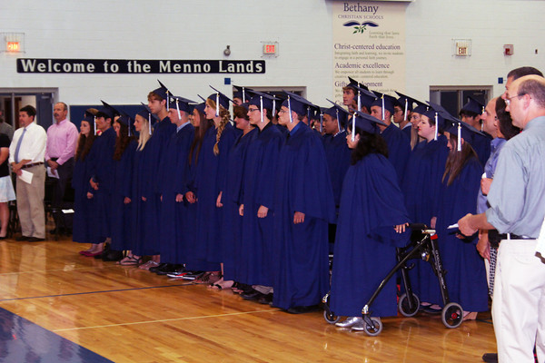 JOHN KLINE | THE GOSHEN NEWS<br /> Members of the Bethany Christian High School class of 2014 prepare to take their seats during the start of commencement ceremonies in the school gym Sunday afternoon.