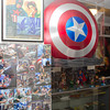"SAM HOUSEHOLDER | THE GOSHEN NEWS<br /> The Captain America sheild, top right, was used in the movie ""Captain America: The First Avenger."" The backside was autographed by the cast of the sequel ""Captain America: The Winter Soldier,"" shown in the photos on the left. The sheild is now a part of the Hall of Heroes Museum in Elkhart."