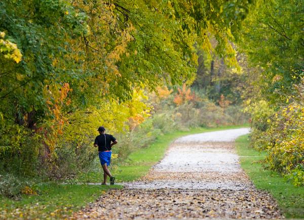 SAM HOUSEHOLDER   THE GOSHEN NEWS<br /> Giovanni Lopez, of Elkhart, jogs through Abshire Park on the Pumpkinvine Trail Thursday in Goshen.