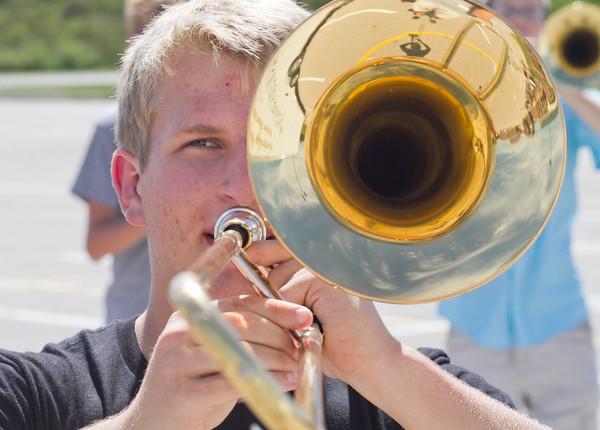 SAM HOUSEHOLDER | THE GOSHEN NEWS<br /> Northridge junior trombone player Chris Mitschelen plays during practice Wednesday at the school.