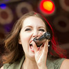 SAM HOUSEHOLDER | THE GOSHEN NEWS<br /> Christian artist Francesca Battistelli sings during the concert Sunday night at the grandstand at the Elkhart County 4-H Fair.