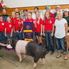 SAM HOUSEHOLDER | THE GOSHEN NEWS<br /> Bryce Resler, center with banner, of Wakarusa, had the Grand Champion swine. Buyers include, front row, from left Madison Kenyon, Sage Risser, Drake Risser, Morgan Gawthrop, Madeline Gawthrop, Austin Sanders, Kraig Resler, Morgan Resler and Nicki Resler. Back row, from left, Michael Christofeno, of Cosentino and Christofeno, Dylan Risser, of the Risser Family, Phil Tom, of Turtle Top and Associates, Bobby Gluck, of ADM, Dustin and Bill Mattern, of Mattern's Butcher Shop, Whitney Roe, of Brimar Wood, Steve Shively, of Brimar Wood, Jody Lengacher, of J and N Stone and Thompson, Lengacher and Yoder Funeral Home and Kirk Beer of McCormick Motors.