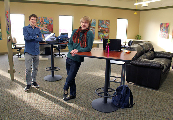 Roger Schneider | The Goshen News<br /> Micah Miller-Eshleman, left and Alan Smith, are two of Goshen's newest entrepreneurs. The men have started PixelDance, a computer web design and web apps company.
