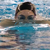 SAM HOUSEHOLDER | THE GOSHEN NEWS<br /> Wawasee freshman Paige Miller swims the 200 meter individual medley at the Northern Lakes Conference girls preliminaires Thursday at Concord High School.