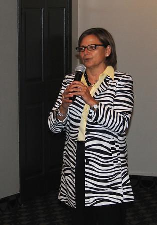 DANIEL RIORDAN | THE GOSHEN NEWS District 22 State Representative Rebecca Kubacki (R-Syracuse) speaks to the crowd at the Kosciusko County Lincoln Day Dinner in Warsaw Thursday night.