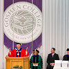 SAM HOUSEHOLDER | THE GOSHEN NEWS<br /> Goshen College president Jim Brenneman addresses the graduates during the 116th Goshen College Commencement ceremony Sunday.