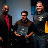 HALEY WARD | THE GOSHEN NEWS<br /> Eric Holloway, president of MBC Staffing, Armando Celestino, Elkhart, and instructor Cole Warner during the graduation ceremony of their first welding class Tuesday at Lippert Components.