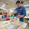 JAY YOUNG | THE GOSHEN NEWS<br /> Millersburg Elementary seventh grade student Emilio Diaz de Leon hammers away on his crate project during a shop class Wednesday afternoon.