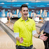 JAY YOUNG | THE GOSHEN NEWS<br /> Goshen mayor Jeremy Stutsman reacts in celebration after picking up a spare on a split during the ninth annual Spare Time at the Chamber bowling event on Thursday afternoon at Maple City Bowling.  Twenty teams made up of five bowlers each took part in the event hosted by the Goshen Chamber of Commerce.