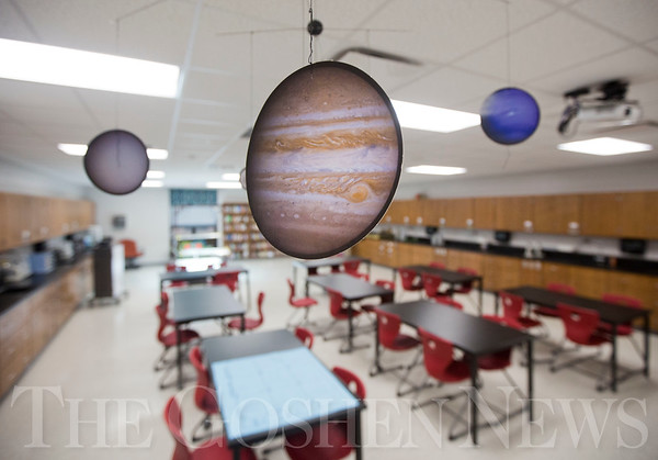 JAY YOUNG | THE GOSHEN NEWS<br /> A Jupiter cutout, part of a solar system mobile, hangs from the ceiling inside the science lab at Millersburg Elementary.