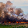 JAY YOUNG | THE GOSHEN NEWS<br /> A fire rages at Waste Management's Earthmover landfill, located at 26488 C.R. 26, Wednesday morning.
