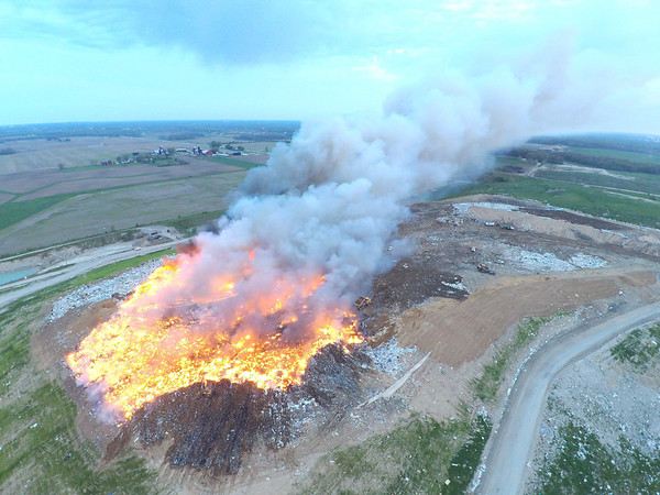 PHOTO CONTRIBUTED<br /> In this aerial image provided by the Elkhart County Sheriff's Department, the blaze at Waste Management's Earthmovers landfill site south of Elkhart on C.R. 26 can be seen.