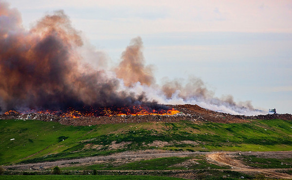 JAY YOUNG | THE GOSHEN NEWS<br /> A fire burns at Waste Management's Earthmover landfill, located at 26488 C.R. 26, Wednesday morning.