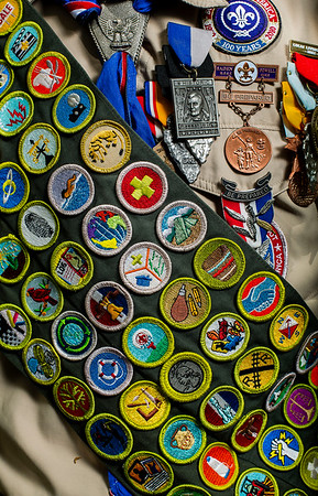 JAY YOUNG | THE GOSHEN NEWS<br /> A few of the 143 merit badges Eagle Scout Nathan Hite, of New Paris Boy Scouts Troop 12, has earned. He now has more merit badges than any other scout in the country.