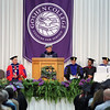 JULIE CROTHERS BEER | THE GOSHEN NEWS<br /> Commencement speaker Dr. Luis Ricardo Fraga speaks to graduates from the podium Sunday.