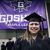 JULIE CROTHERS BEER | THE GOSHEN NEWS<br /> Alicia Navarro, of Middlebury, poses for a photo as she awaits the start of Goshen College's commencement Sunday.