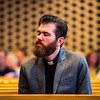 JAY YOUNG | THE GOSHEN NEWS<br /> Pastor John Hickey, of Faith Lutheran, closes his eyes as he reflects on Jesus' suffering during a Good Friday service at College Mennonite Church.