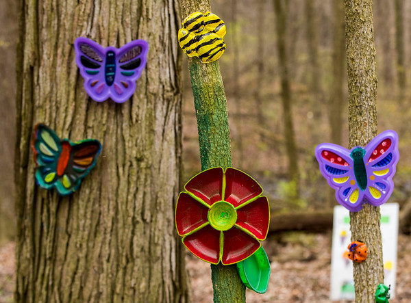 JAY YOUNG | THE GOSHEN NEWS<br /> Colorful art made from recycled materials line the sensory riding trail at LoveWay in Middlebury.
