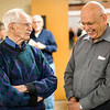 JAY YOUNG | THE GOSHEN NEWS<br /> Goshen residents John Driver, left, and Vic Stoltzfus, chat following a Good Friday service at College Mennonite Church.