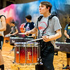 JAY YOUNG | THE GOSHEN NEWS<br /> Junior Benjamin Taubert rapidly strikes his snare drum during the rehearsal.