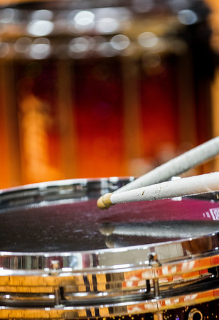 JAY YOUNG | THE GOSHEN NEWS<br /> Drumsticks rapidly tap the top of a snare drum.