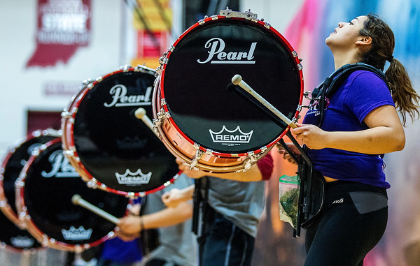 JAY YOUNG   THE GOSHEN NEWS<br /> Junior Maddy Martinez strikes her bass drum creating a thunderous thump.