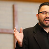 JAY YOUNG | THE GOSHEN NEWS<br /> Saula Padilla, of Mennonite Central Committee, speaks during a Good Friday service at College Mennonite Church.