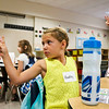 LEANDRA BEABOUT   THE GOSHEN NEWS<br /> Kindergartener Hadley Stafford shows her teach the number two on the first day of school at Ox Bow Elementary School.