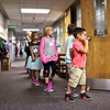 LEANDRA BEABOUT | THE GOSHEN NEWS<br /> Kelsey Peachey's kindergarten class practices how to walk into the classroom quietly on the first day of school at Ox Bow Elementary School.