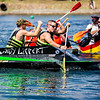 JAY YOUNG | THE GOSHEN NEWS<br /> Dustin Wait, front, and teammate Mike O'Neil, with Lippert Components,  guide their Lady Lippert boat in front of the competition during the United Way's Great Cardboard Boat Race Friday afternoon at the LaSalle Bristol Pond in Elkhart.