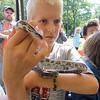 Roger Schneider | The Goshen News<br /> Trevor Witmer, 11, of Elkhart, holds a milk snake as part of an educational program at the Middlebury Riverfest Saturday morning.