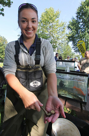 Roger Schneider   The Goshen News<br /> Madelyn Boyer, an intern biologist with the city of Elkhart, holds a chestnut lamprey that was attached to a brown trout that was captured during the Middlebury Riverfest. Fifteen species of fish were captured by electroshocking in the Little Elkhart River and then put on display to educate the public.