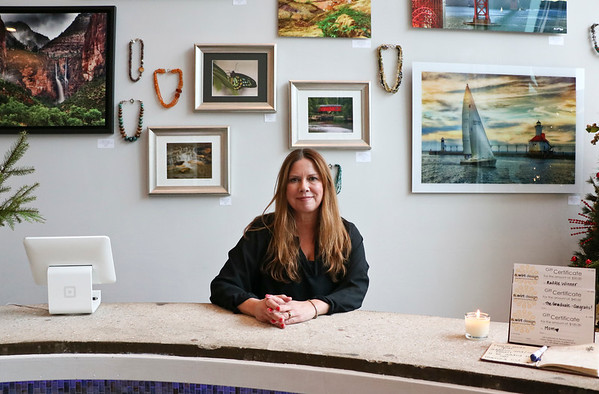 LEANDRA BEABOUT | THE GOSHEN NEWS<br /> Nanci Wirt sits inside her business, n. wirt design & gallery.
