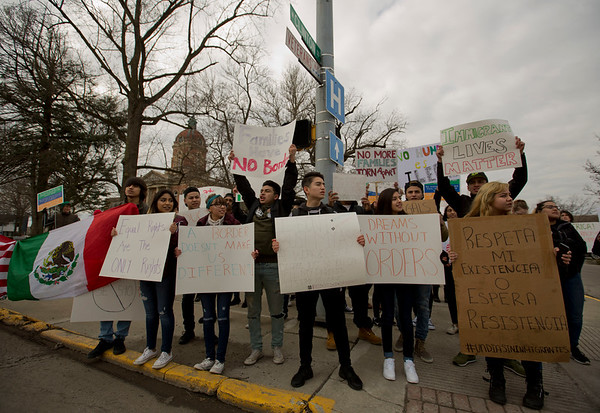 JAY YOUNG | THE GOSHEN NEWS<br /> Protesters gathers near the Elkhart County Courthouse to protest President Donald Trump's immigration policies on Thursday afternoon.