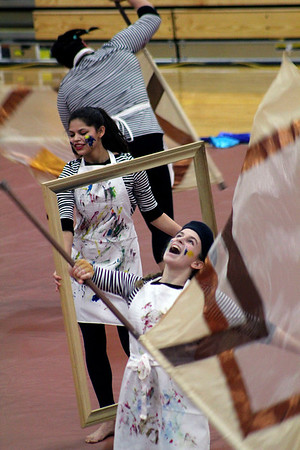 Roger Schneider | The Goshen News<br /> The NortWood Winter Guard team used a lot of props during its presentation Saturday at the Goshen invitational.