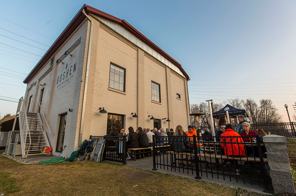 JAY YOUNG | THE GOSHEN NEWS<br /> Patrons of the Goshen Brewing Company enjoy a free outdoor concert on an unseasonably warm Wednesday evening in February.