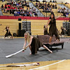 Roger Schneider | The Gsohen News<br /> Makayla Clawson, left, and Micaela Cacahua, begin the show for the Goshen Winter Guard Saturday.