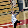Roger Schneider | The Goshen News<br /> A member of the NorthWood Winter Guard team performs at the edge of the floor mat.