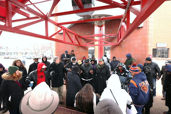 GOSHEN NEWS Community members attended a prayer vigil in Elkhart Saturday as a grand jury convenes to hear the case in the death of Norman Gary, who was fatally shot by two Elkhart police officers.