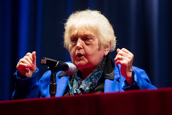 JAY YOUNG | THE GOSHEN NEWS<br /> Holocaust survivor Eva Kor speaks to students at Elkhart Memorial High School on Thursday about her experiences in the Auschwitz concentration camp.