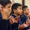 JAY YOUNG | THE GOSHEN NEWS<br /> St. John the Evangelist Catholic School second-grader Beckham Rivera sings and prays during an Ash Wednesday Mass at the church. Ash Wednesday marks the first day of Lent.