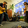 JAY YOUNG | THE GOSHEN NEWS<br /> Bryce Cone, left, and Tyler Martin, of the band Neville's Diary, rock out at Gaining Grounds during March's Live and Local First Fridays event.