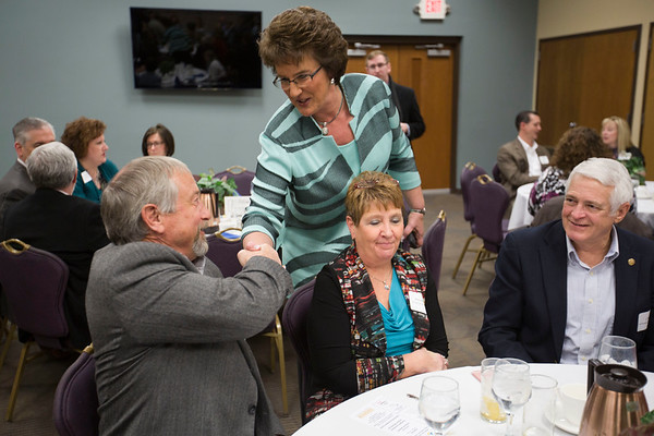 JAY YOUNG | THE GOSHEN NEWS<br /> Congresswoman Jackie Walorski mingles with the crowd before speaking at a Chamber of Commerce luncheon at Greencroft Community Center on Friday afternoon.