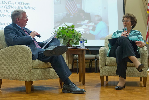 JAY YOUNG | THE GOSHEN NEWS<br /> Congresswoman Jackie Walorski  and Goshen Chamber of Commerce president David Daugherty hold a sit down talk during a luncheon held at Greencroft Community Center on Friday afternoon.