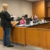 JOHN KLINE | THE GOSHEN NEWS<br /> Goshen resident Tina Bontrager speaks to the Goshen City Council Tuesday about her opposition to a proposed ordinance that would allow the city to require private property owners to remove trees or tree limbs on their property that could pose a health or monetary risk to a neighbor or other community member.