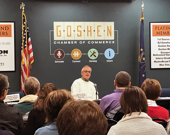 GEOFF LESAR | THE GOSHEN NEWS<br /> <br /> Rep. Wes Culver (R-Goshen), fields questions from attendees of Saturday's Third House meeting at the Goshen Chamber of Commerce.